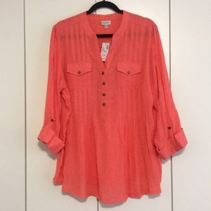 Avenue coral 3/4 sleeve blouse